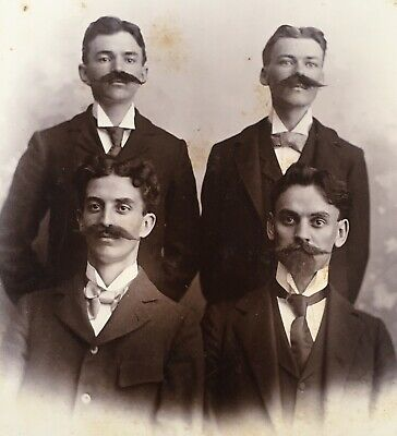 1880's Four Handsome Young Men With Marx Brothers Mustache Cabinet Card Photo