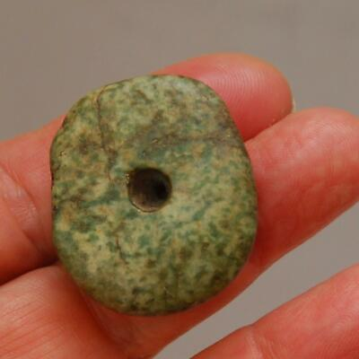 PRE COLUMBIAN Large Spotted Jade_Stone Bead_12.3 x 34.2 x 30.3mm_24.7 Grams