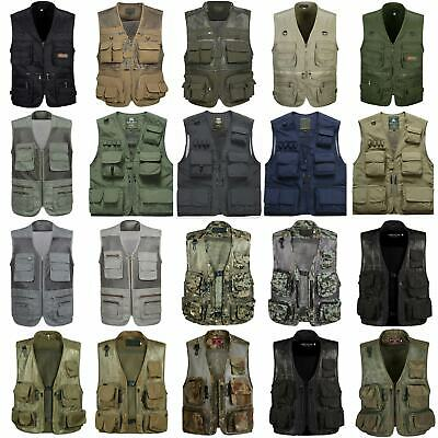 Mens Military Army Tactical Multi-pockets Vest Outdoor Camping Hunting Waistcoat