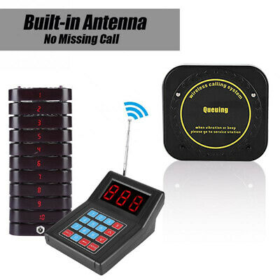 Restaurant Paging Pager Calling Equipment System 1 Transmitter+10 Coaster Pagers
