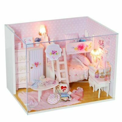 Childrens wooden dolls house complete with accessories Pink house For Girl Gift