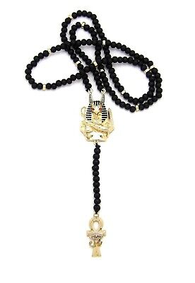 """Egypt God Anubis, Ankh Piece 6mm 28"""" Wooden Bead Rosary Necklace"""
