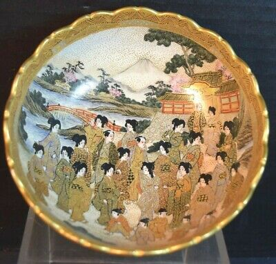 Small Satsuma Japanese Pottery Bowl with Figures