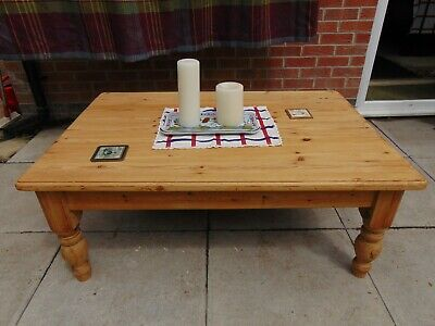 Solid pine 1980's carved coffee table