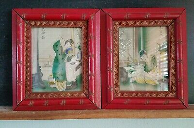 Pair Geishas Antique Lithograph Art Hand Colored Print Asian Red Bamboo Frames