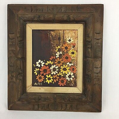 Vintage Expressionist Painting Flowers Daisies Brown Orange Yellow Framed 18x16