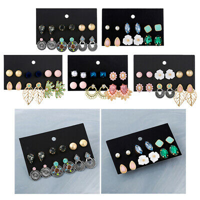 6 Pairs Assorted Boho Stud Earrings Vintage Beads Dangle Earring for Women
