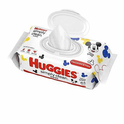 HUGGIES Simply Clean Fragrance-free Baby Wipes, (64 Sheets), Alcohol-free,