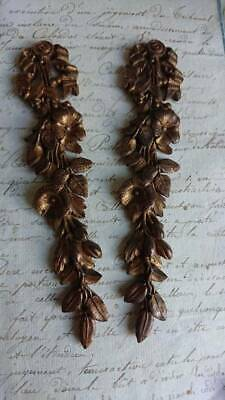Divine Pair Antique French Ormolu Mounts Ribbon & Flower Garland C1880