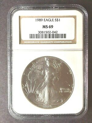 1989,american Silver Eagle,ngc Ms69