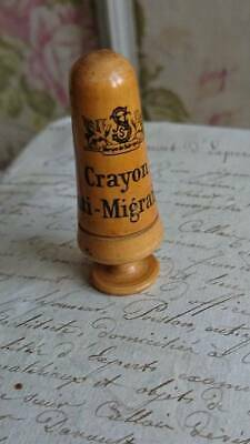 SUPERB ANTIQUE FRENCH APOTHECARY PHARMACIE WOODEN CRAYON A MIGRAINE c1900