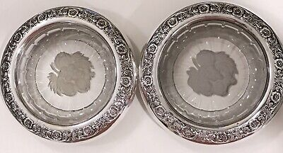 "2 Vintage International Sterling Silver Rim""Prelude"" Crystal Etched Coasters"