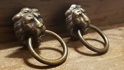 2 Antique Lion Head Rings Pulls Furniture Cabinet Drawer Handles Heavy Brass