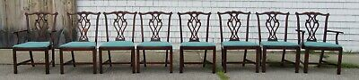 Set of 8 chippendale straight leg solid mahogany dining chairs