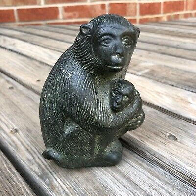 Antique Chinese Carved Monkey Figurine Statue Sculpture Mom Baby Asian Figures