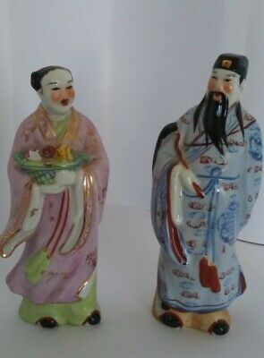 Set of 2 Vintage Hand Painted Asian / Oriental Man & Woman figurines