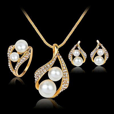 New Bridal Bridesmaid Wedding Jewelry Set Crystal Pearl Necklace Earrings RingUP