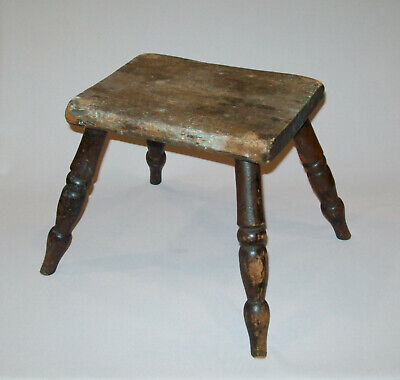 Old Antique Vtg Late 18th Early 19th C Windsor Foot Stool Original Surface Nice