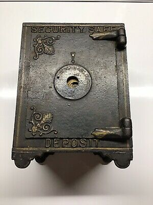 Antique Still Cast Iron Security Safe Deposit Bank Victorian Lionhead No Combo