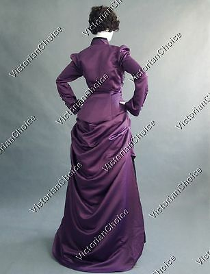 Edwardian Gothic Bustle Riding Habit Gown Witch Dress Halloween Costume 139 L