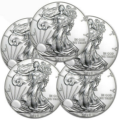 Lot of 5 2019 1 oz American Silver Eagle $1 Gem BU Coins