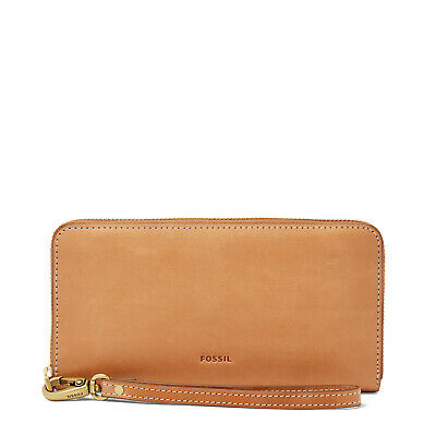 Fossil Tan Applique Embroidered Leaf Emma Zip Around Clutch Wallet RFID