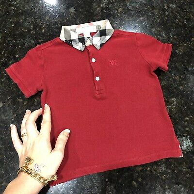 18 Months (fits 12m +) Authentic Burberry Baby Boys Polo Shirt William Red Check