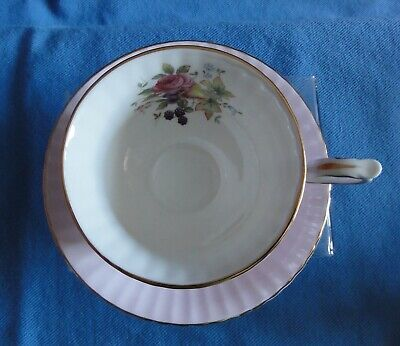 PARAGON Tea cup & Saucer Pink with flowers & fruit design Made in England