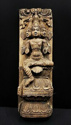 ANTIQUE 19th C. BRAHMA HINDU CHARIOT WOOD CARVING FROM INDIA