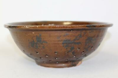 Rare 19Th C Pa Redware Footed Colander With Manganese Decoration Great Condition