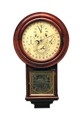 Solid Rosewood Welch Gale Drop 5 Dial 6 Hand Complication Calendar Wall Clock