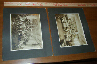 2 antique photographs BOOT or LEATHER Factory worker group photo machinery co-ed
