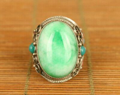 Chinese old gold copper inlay green jadeite hand carving flower statue ring gift