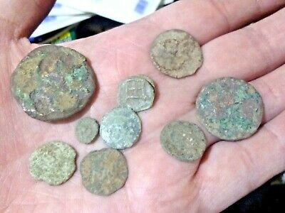 Metal Detecting Finds Large  Job Lot Of Large And Small  Roman  Coins Uncleaned