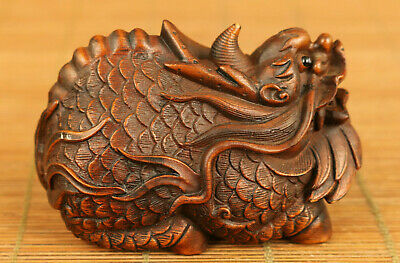 Rare Chinese old boxwood hand carved dragon statue netsuke table home decoration