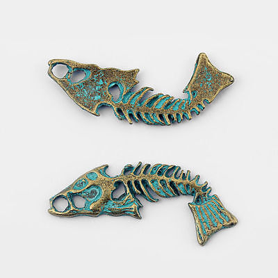 5Pcs Ancient Greek Bronze Fish Bone Skeleton Charms Pendants DIY Jewelry 52*16mm