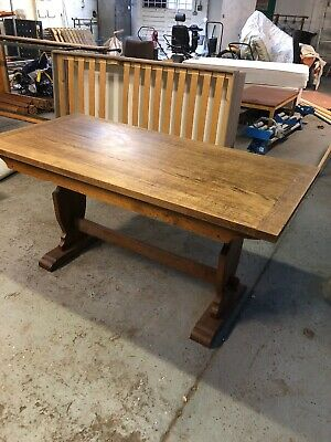 Antique solid Oak Dining Table, Refectory Style, 6 seater