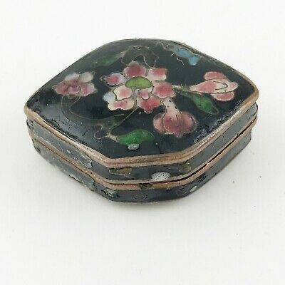 Antique Chinese Cloisonne Enamel Snuff Rouge Pill Pot Box
