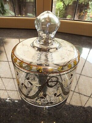 Antique Vintage Hand Painted & Guilded Glass Cheese Dome
