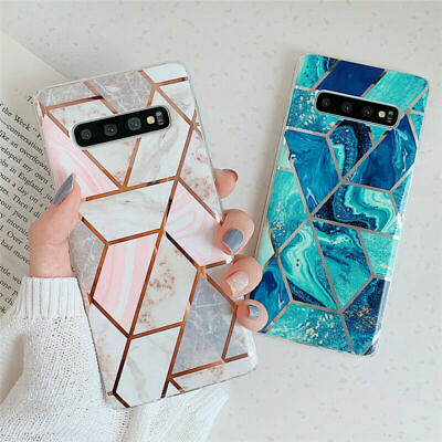 For Samsung Galaxy S10 A40 A50 A70Case Geometrical Marble Pattern Soft TPU Cover