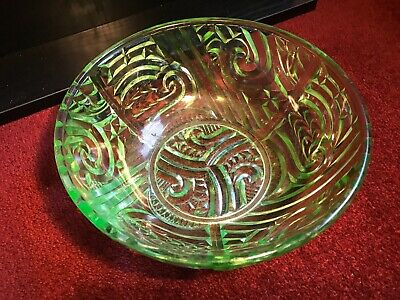 Heavy Green Depression Art Deco Master Bowl