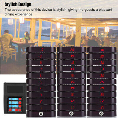 Restaurant Calling Pager Paging Equipment System 1 Transmitter+30 Coaster Pagers