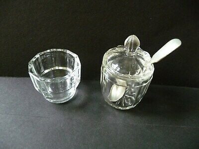 Two Vintage Glass Mustard Condiment Pots plus Spoon