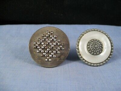 Nice Pair Antique Pearl Buttons Steel Vintage Button Sewing Box Craft Victorian