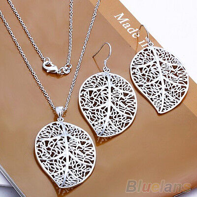 DI- FT- Fantastic Lady's Silver Plated Leaf Style Earrrings Chain Set Necklace J