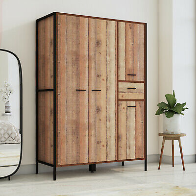 Stretton Urban Industrial 4 Door Large Wardrobe with Drawer Rustic Bedroom