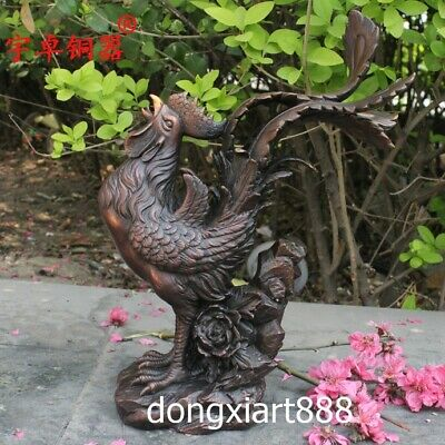 29.5 cm Bronze Chinese Zodiac Animal chook chicken rooster peony flower Statue