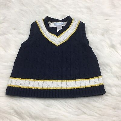 Janie And Jack Size 18/24 Months Navy Blue White Yellow Sweater Vest Sailboat