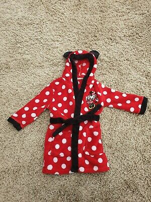 Disney Minnie Mouse Hooded Dressing Gown Age 1-2 Years Red/White Polka Dots