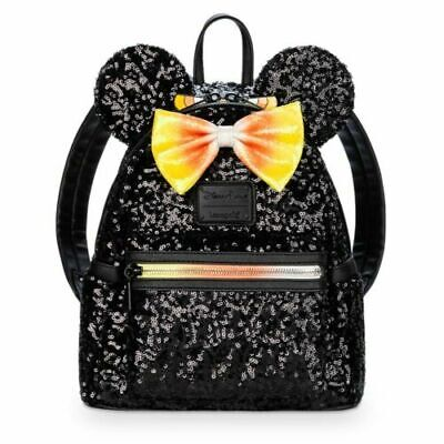 NEW Disney Candy Corn Halloween LOUNGEFLY Minnie Mouse Sequin Mini Backpack